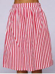 Elastic Waist Striped Color Block Skirt -