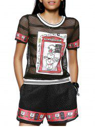 See-Through Cartoon Pattern T-Shirt and Shorts -