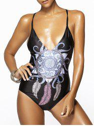 Trendy Spaghetti Strap Feather Print Criss-Cross Women's Swimwear