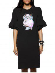 Owl Pattern Sequined Design 1/2 Sleeve Shift Dress -