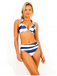 Striped Halter Bikini Swimwear -
