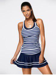 Striped Tankini Bathing Suit Swimwear - BLUE AND WHITE