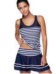 Striped Padded Racerback Skirted Tankini Swimwear -