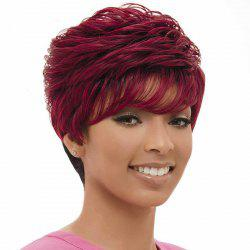 Fashion Synthetic Black and Red Short Shaggy Side Bang Wig For Women -