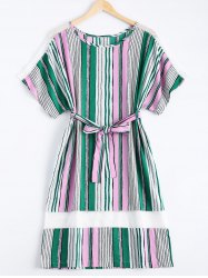 Preppy Colorful Striped Belted Loose Midi Women's Dress -