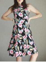 Women's Vintage Sleeveless Round Neck Print Dress -