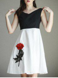 Nice Boat Neck Embroidered Splice Women's Dress -