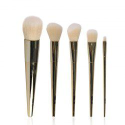 Stylish 5 Pcs Plated Metal Handle Nylon Face Eye Makeup Brushes Set
