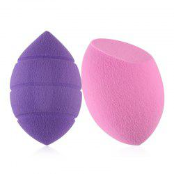 Stylish 2 Pcs Dual-Use Dry and Wet Water Swelling Beauty Blender Powder Puffs - PINK AND PURPLE