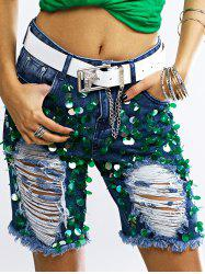 Fashionable Sequined Denim Ripped Shorts Womens -
