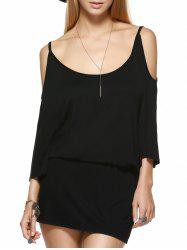 Mini Casual Backless Cold Shoulder Dress - BLACK
