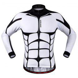 Fashion Muscle Pattern Breathable Quick Dry Cycling Long Sleeve Jersey For Unisex - WHITE AND BLACK