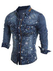 Turn-Down Collar Star Pattern Bleach Wash Long Sleeve Denim Shirt For Men -