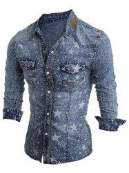 Turn-Down Collar Star Pattern Bleach Wash Long Sleeve Denim Shirt For Men - LIGHT BLUE
