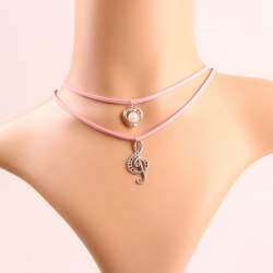 Stylish Etched Music Notes Heart Faux Pearl Layered Necklace For Women -