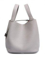 Concise Lock and Solid Color Design Tote Bag For Women -