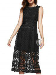 Elegant Women's Round Neck High-Waisted Lace Midi Dress
