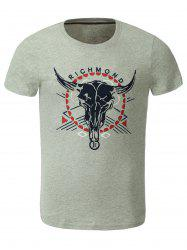 Cotton Bull and Letters Print Round Neck Short Sleeve T-Shirt - GRAY 2XL