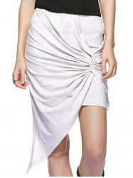 Twisted Ruched Asymmetric Skirt - LIGHT GRAY