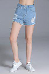 High Waist Ripped Sheath Shorts -