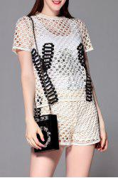 Tank Top and Openwork Tee and Shorts -