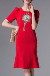 Embroidered Sequined Sheath Dress -