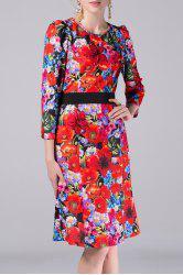 Stereo Floral High Waist Dress -