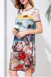 Asymmetric Round Neck Flower Print Dress -
