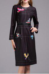 Bird Print Long Sleeve Dress -