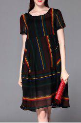 Striped Knee Length Dress with Tank Top -