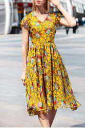 Short Sleeve Floral Print Midi Chiffon Dress -