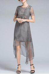 Asymmetric Lace Embellished Dress -