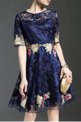 Sheer Embroidered A Line Dress -