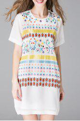 Embroidered Mini Dress with Cami Dress -