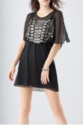 Split Sleeve Beading Chiffon Dress -