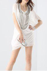 Rhinestone Beading Shift Dress and Cami Tank Top Suit -