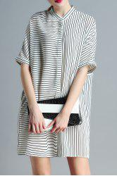Stand Neck Striped Loose Fitting Dress -