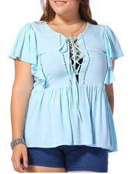 Fashionable Plus Size Dolman Sleeves Opening Thorax Frenum Scoop Neck Blouse For Women