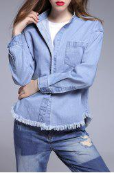 Fringed Hem Denim Blouse -