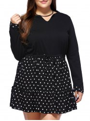 Plus Size Mini Polka Dot Dress