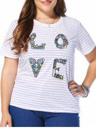 Plus Size Striped LOVE Graphic Tee