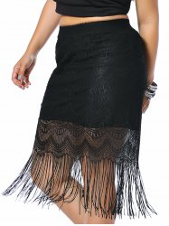 High Waist Fringed Midi Skirt - BLACK