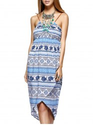 Fashionable Knitted Gallus Printing Asymmetric Dress For Women -