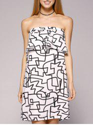 Ruffles Beach Bandeau Dress - WHITE/BLACK XL
