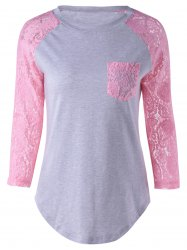 Lace Splicing Single Pocket T-Shirt - PINK / GRAY S