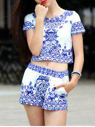 Short Sleeve Retro Floral Print T-Shirt and Blue and White Shorts -