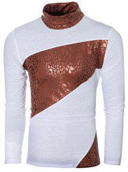 Turtle Neck Metal Style Splicing Design Long Sleeve T-Shirt For Men