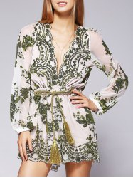 Fashion Plunging Neck Voile Sequins See-Through Romper For Women