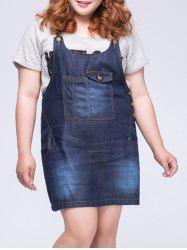 Casual Plus Size Front Pocket Denim Women's Overall Dress -