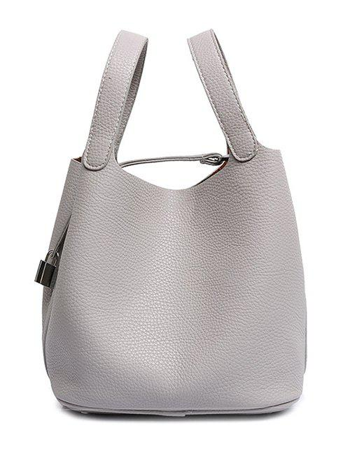 Sale Concise Lock and Solid Color Design Tote Bag For Women
